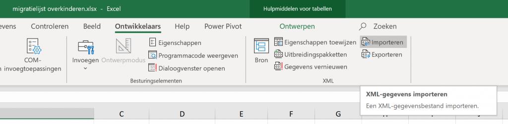 migratielijst overkinderen.xlsx - A/ens Excel Ontwikkelaars Help Power Pivot Hulpmiddelen voor tabellen Ontwerpen Controleren COM- Beeld Zoeken Eigenschappen Programmacode weergeven Ontwerpmodus Invoegen Bron Dialoogvenster openen invoegtoepassingen Besturingselementen c Eigenschappen toewijzen Importeren Uitbreidingspakketten Exporteren g! Geg evens vernieuwen XML XML-gegevens importeren Een XML-gegevensbestand importeren.